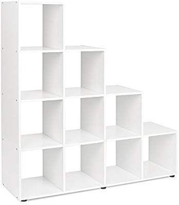 Homfa White Bookcase Wooden Cube Storage Unit Staircase Shelf Home Office Display Bookshelf Organizer 105 Cube Storage Unit Cube Storage Home Office Storage