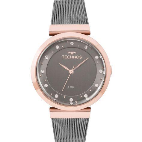 Relógio Technos Feminino 2035mmw 4c Crystal Fumê Rosê - Relógio Technos  Slim feminino bicolor. O pulso é banhado em ouro rosé. E a pulseira grafite  de mesh ... aed943c4db
