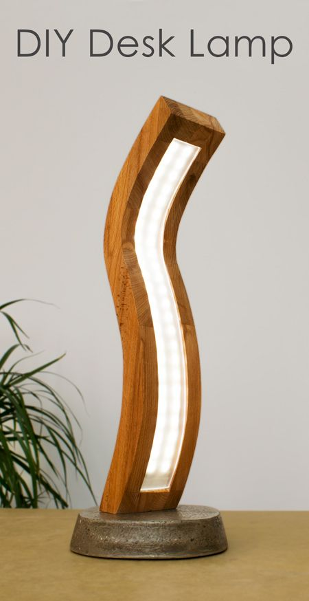 Diy Curved Wood And Acrylic Led Desk Lamp With Concrete Base