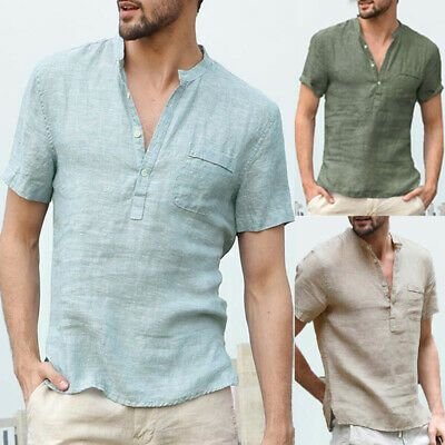 Men/'s Long Sleeve Linen Shirt Collarless V neck Causal Holiday Tee Tops Summer