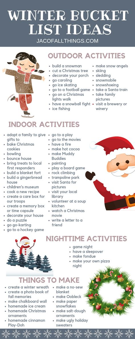 Have fun with your family this winter with these winter activities! Use these indoor and outdoor winter activity ideas to create your family winter bucket list! bucket list Winter Bucket List Ideas and Activities Winter Activities For Kids, Activities To Do, Holiday Activities, Family Outdoor Activities, Family Activities With Toddlers, Christmas Activities For Adults, Indoor Activities, Outdoor Games, Indoor Outdoor