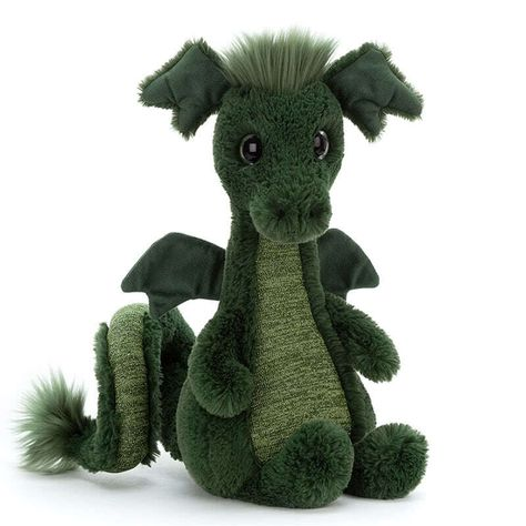 Now this is what you call a dragon, introducing 'Sparks Dragon' by Jellycat. Possibly the best Dragon that Jellycat have ever made! Coming with a super soft forest green fur body, a sage green flannel style tummy and under tail, tufty hair style and tail end, delicate little wings and a look that could turn you to stone, magnificent!