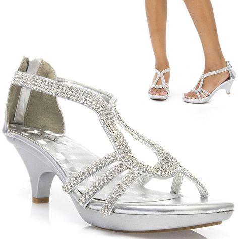 db2aca78c789b2 Rhinestone Silver Prom Wedding Bridal Open Toe Low Kitten Heel Party Sandal  Shoe