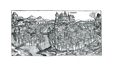 View Of Krakowfrom Schedls Chronicle Of The World Illustrations By Michael Wolgemut Workshop Edited 1493 In Nuerem Vintage World Maps Antique Prints Prints