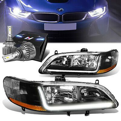 Black Housing Projector Headlight Lamp Slim Led Hid Kit For 98 02 Honda Accord Ebay In 2020 Honda Accord Projector Headlights Honda Accord Accessories