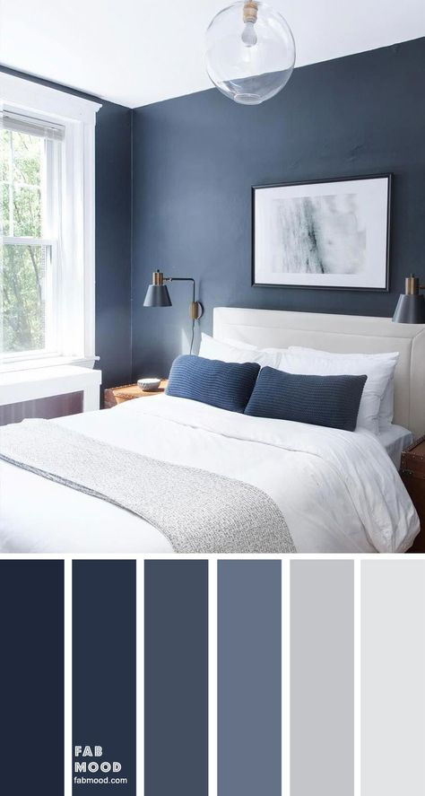Bedroom color scheme ideas will help you to add harmonious shades to your home which give variety and feelings of calm. From beautiful wall colors. color schemes grey Dark blue and light grey bedroom color scheme Bedroom Colour Schemes Blue, Grey Bedroom Colors, Light Gray Bedroom, Navy Blue Bedrooms, Blue Master Bedroom, Blue Rooms, Navy Bedroom Walls, Grey Living Room Ideas Color Schemes, Interior Design Color Schemes