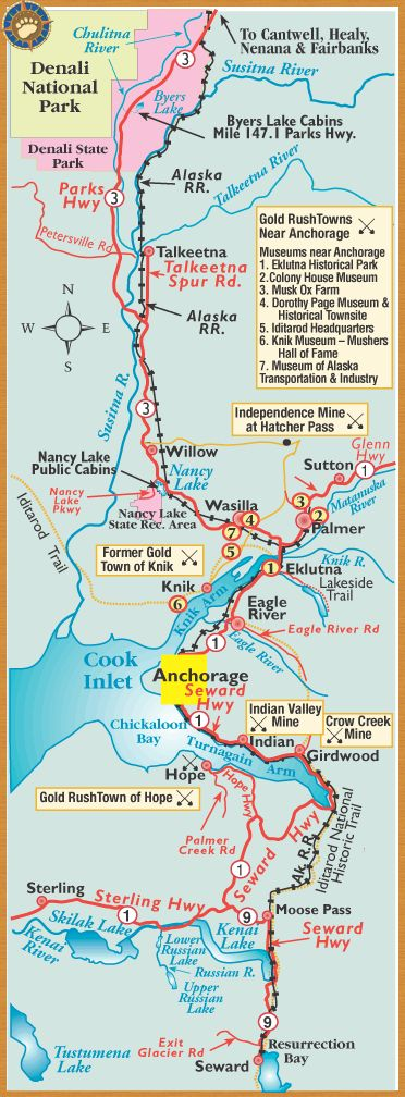 We went from Anchorage, to Denali National Park down to Seward & then to Soldotna