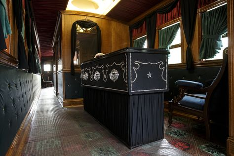 *ABRAHAM LINCOLN ~ A recreation of Abraham Lincoln's casket rests at one end of the re-built Lincoln Funeral Car. Ted Schurter/The State Journal-Register