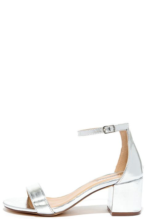 There's a version of the Babe Squad Silver Heeled Sandals for every gal in your group! These versatile vegan leather heels have a minimal upper with adjustable ankle strap, plus a low block heel.
