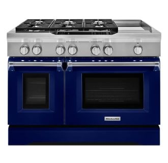 View The Kitchenaid Kdrs483v 48 Inch Wide 6 3 Cu Ft Slide In Dual Fuel Range With Griddle At Build Com Double Oven Kitchen Aid Double Convection Oven