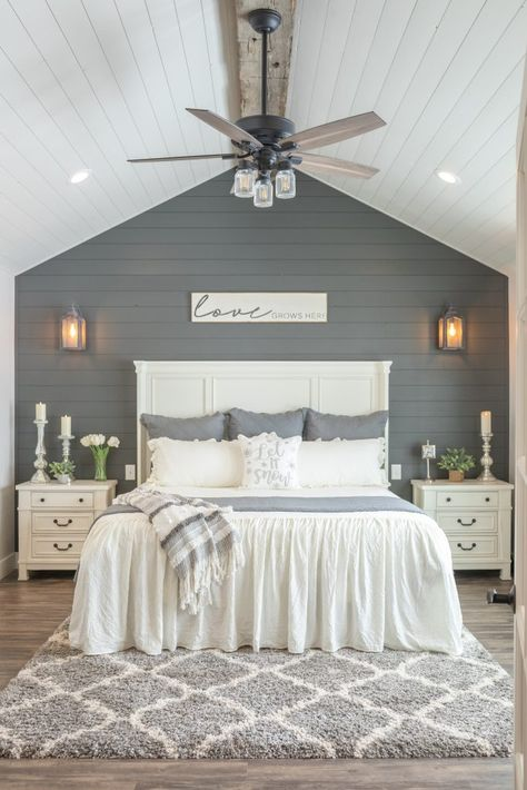 With a charming combination of wood beams, shiplap walls, and wood flooring, this little house is one that all of your farmhouse style dreams are made of! Dream Bedroom, Home Bedroom, Bedroom Ceiling, Master Bedroom Wood Wall, Ceiling Fan, Bedroom Ideas, Bedroom Accent Walls, Master Bedroom Decorating Ideas, Master Bedroom Color Ideas