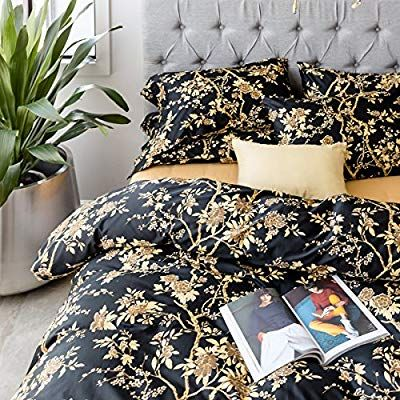 Amazon Com Eastern Floral Chinoiserie Blossom Print Duvet Quilt Cover Navy Blue Tan White Asian Style Botanical T Queen Bedding Sets Quilted Duvet Quilt Cover