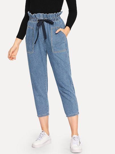 Ruffle Waist Drawstring Jeans With Images Drawstring Jeans