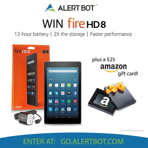 Alertbot Is Giving Away A Kindle Fire Hd 8 25 Amazon Gift Card To One Lucky Winner Fire Hd8 Features T Amazon Gift Cards Amazon Card Sweepstakes Giveaways
