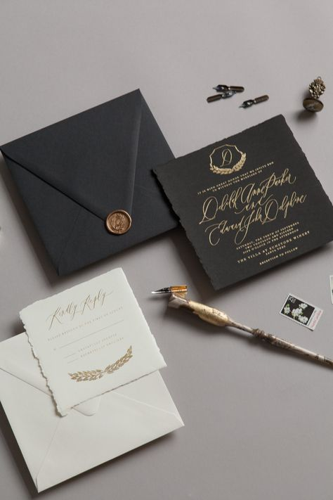 This elegant suite has beautiful, moody textures and sophisticated illustrative details. It has a touch of vintage classic flair.  The Main Invitation is laid out in a square, and gives you an opportunity to choose your monogram between Ornate, Olive Branch or Floral.