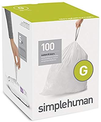 Amazon Com Simplehuman Code G Custom Fit Liners Drawstring Trash Bags 30 Liter 8 Gallon 100 Count Box Home Kitchen Simplehuman Trash Bags Custom Fit