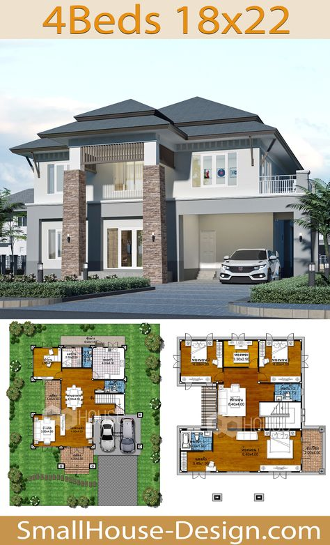 House Plans Idea 18x22 with 4 Bedrooms. EARTH HOME SERIES Tropical StyleLine EA-135, 2-story house 4 bedrooms, 4 bathrooms.  Parking for 2 cars, Usable area, 306 square meters, Land area 90 Square Wah, 18 meters wide 22 meters long