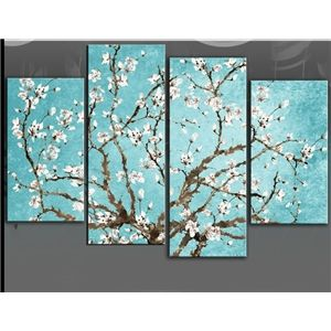 FLORAL WALL ART PICTURE DUCK EGG WHITE FLOWER PAINTING CANVAS SPLIT PANEL New
