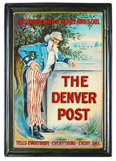 The Denver Post Self Framed Tin Sign May 10 2019 Showtime Auction Services In Mi Denver Post Tin Signs Vintage Advertising Signs