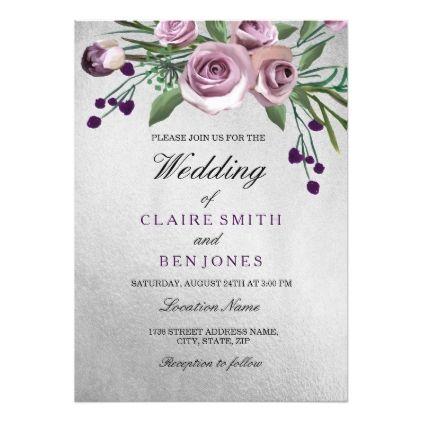 Romantic Silver Purple Rose Floral Wedding Invite Zazzle Com In