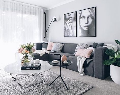 #home . . . . . . . . . . 🛋️ #room #furniture #interiordesign #homedecor  #decor #homedesign #design #photography #instapic #photooftheday #interior #property  #ideas #livingroom #livingroomdecor #plant #couch #coffeetable #beautiful #gray #pillows #paintings #flowers #lamp #style