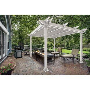Sol 72 Outdoor Ansonia 10 W X 10 D Vinyl Pergola With Canopy Wayfair Louvered Pergola Pergola Pergola Shade