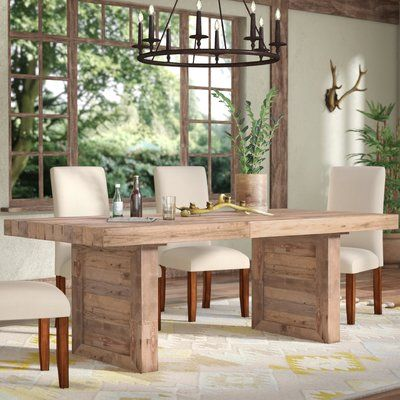 Mistana Abbey Solid Wood Dining Table Color Natural Pine Wood