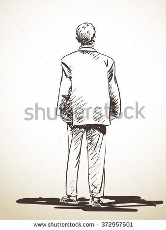 Sketch Of Standing Man In Suit From Back Hand Drawn Illustration Old Man Walking Guy Drawing Man Sketch