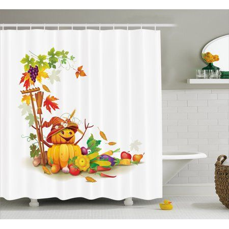 Kids Thanksgiving Shower Curtain Autumn Harvest Theme With
