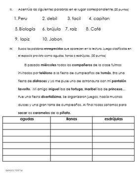 Examen Sílaba Tónica Acentuación Y Clasificar En Agudas Llanas Y Esdrújulas Teacherspayteachers Spanish