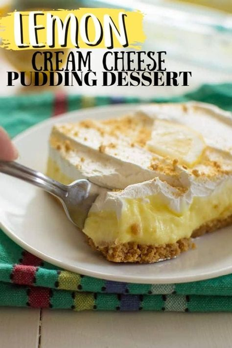 A simple layered no-bake dessert with a cream. A simple layered no-bake dessert with a cream cheese lemon pudding layer its perfect for potlucks. Mini Desserts, Fluff Desserts, Cream Cheese Desserts, Layered Desserts, Summer Desserts, Easy Desserts, Delicious Desserts, Lemon Cream Cheese Pie, Eggless Desserts