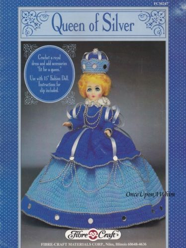 Queen of Silver Doll Dress Fibre Craft Crochet Pattern Leaflet FCM247
