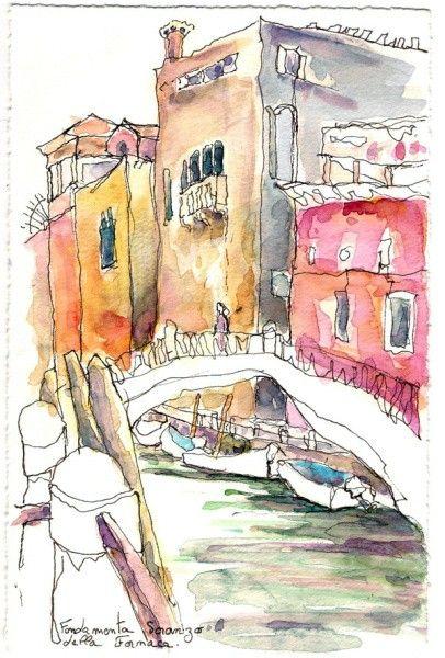 Carnet De Voyage Aquarelle Venise Fondamenta Della Fornaca Muriel
