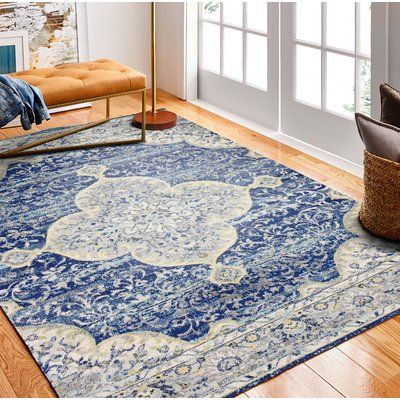 World Menagerie Chupp Ivory Blue Yellow Area Rug Wayfair In 2020 Blue Rug Living Yellow Area Rugs Area Room Rugs