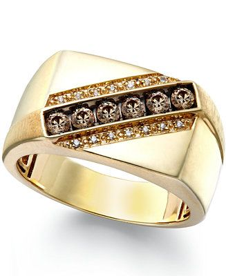 Macy S Men S Champagne And White Diamond Ring In 10k Gold 1 4 Ct T W Reviews Rings Jewelry Watches Macy S White Diamond Ring Mens Jewelry Men Diamond Ring