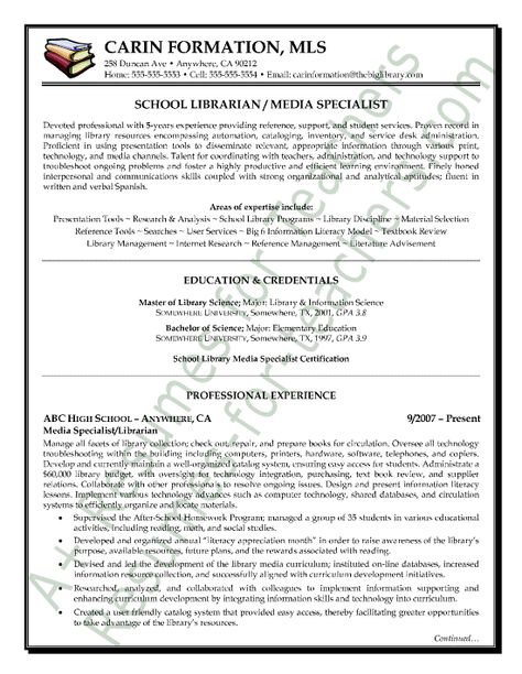 Librarian Resume Sample Page-1 Teacher and Principal Resume - library specialist sample resume