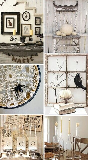 ****  Like the pumpkins on the chair. Love shabby chic halloween