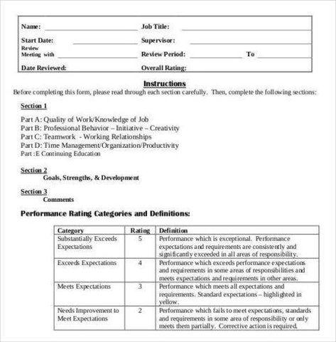 evaluation form definition  medical assistant evaluation | Employee evaluation form ...