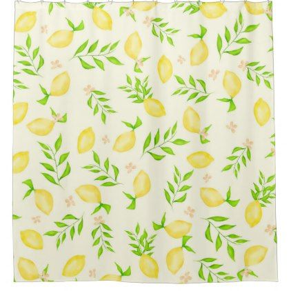 Modern Watercolor Lemons Pattern Citrus Fruits Shower Curtain