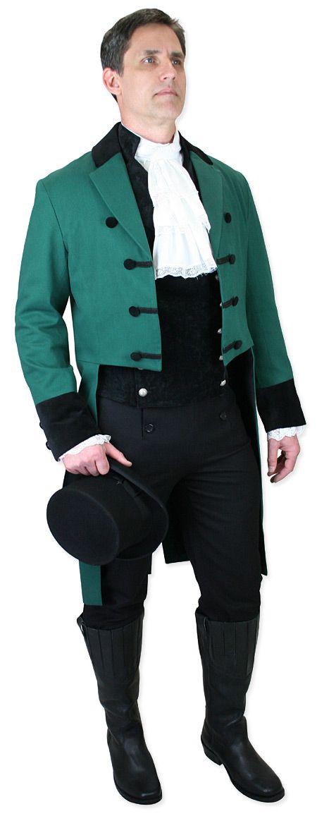 Historical Emporium Mens Velvet Trimmed Sovereign Regency Tailcoat