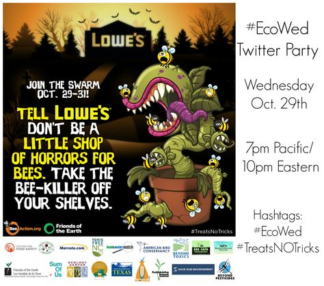 Join #EcoWed this week with @foeus and partners as we discuss how you can help in their campaign asking Lowe's to stop selling bee-killing pesticides and plants pre-treated with them. Get the toolkit so you can take action in your local area. #TreatsNoTricks