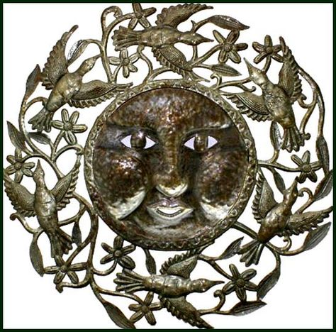"Sun & Birds Metal Art Wall Hanging - Haitian Steel Drum Sculpture - 34"" x 34"" - $159.95 -  Steel Drum Metal Art from  Haiti - Interior Decor or Garden Décor   * Found at  www.HaitiMetalArt.com"