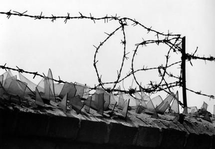 Hands of East and West Germans are seen tearing down barbed wire ...
