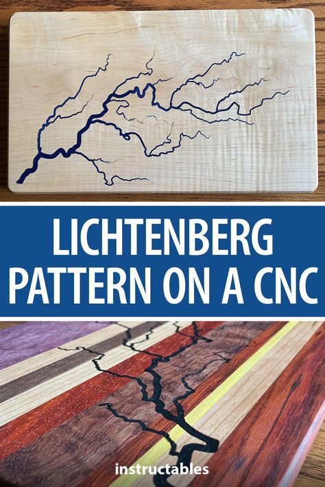 stevemoseley came up with a safe way to reproduce a lichtenberg burn pattern using a CNC and filling the resulting design with resin. #Instructables #workshop #woodworking #burning #carving