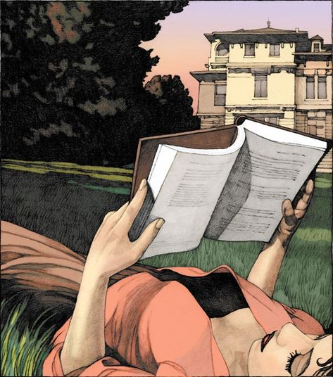 ☺ mileshyman : Girl reading in lawn. Miles Hyman (1962-).   In 1985, Hyman studied drawing at the Ecole des Beaux-Arts.   After forays into music and archaeology, Hyman chose to devote himself to drawing and painting and became a full-time visual artist. He has worked on books, children's books, magazines, as well as French dailies such as Le Monde.  His pastel paintings were featured in galleries in Europe. One of the 100 most significant artists of the coming decade.
