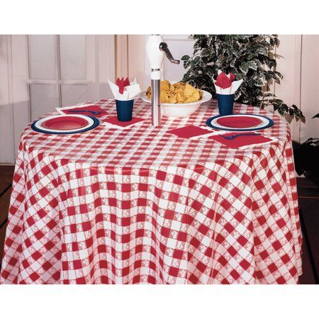 Red Gingham Octy Round Tablecloths 3 Count Walmart Com Table Cloth Round Tablecloth Red Gingham