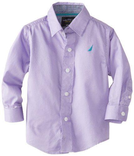 Nautica Boys Long Sleeve Solid Woven Shirt