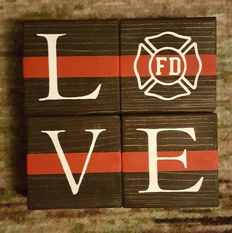 Firefighter Blocks. Firefighter Gift. Thin Red Line. Badge | Etsy