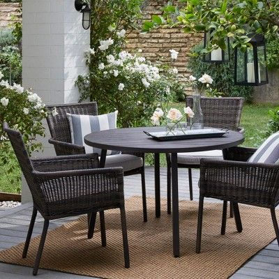 Monroe 4 Person Patio Dining Table Brown Threshold Patio Dining Set Patio Dining Table Wicker Patio Chairs Round patio dining sets