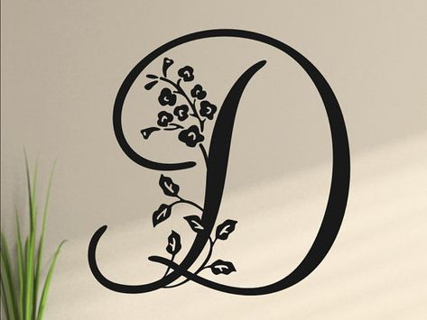 Floral Monogram Vinyl Wall Decal Letter  Single by vgwalldecals, $17.00